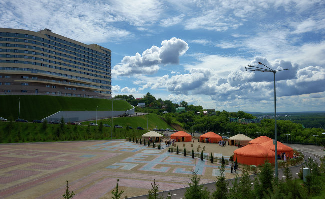 Vatan ethnic theme park outside the congress center in Ufa