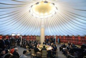 President of Russia Vladimir Putin meets with President of China Xi Jinping and President of Mongolia Tsakhiagiin Elbegdorj