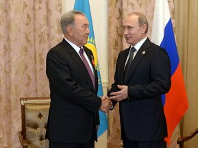 President of the Russian Federation Vladimir Putin meets with President of the Republic of Kazakhstan Nursultan Nazarbayev